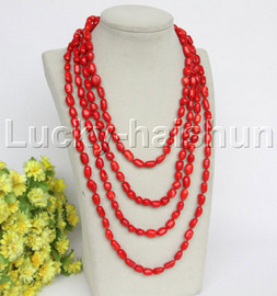 """length Genuine 86"""" 12mm Baroque rice red coral necklace j12166"""