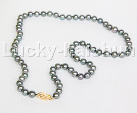 """AAAA+++ PERFECT ROUND genuine peacock black cultured pearls necklace 14K clasp 18"""" j12176"""