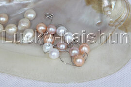AAA+ 10mm sterling silver Chain round white pink purple pearl necklace j12181