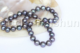 """natural 17"""" 11mm round black pearls necklace magnet clasp j12187"""
