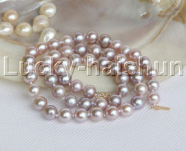 """luster 17"""" 9mm round purple pearls necklace 14K clasp j12200"""