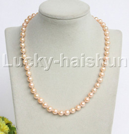 """AAA natural 17"""" 9mm round pink freshwater pearls necklace 14K clasp j12203"""