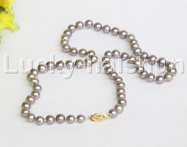 """AAA natural 17"""" 7mm round gray freshwater pearls necklace 14K clasp j12204"""