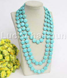 """length natural 70"""" 15mm round coin fastener turquoise necklace j12206"""