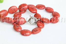 "natural 19"" 15X20mm oval red sponge coral necklace 18KGP clasp j12207"