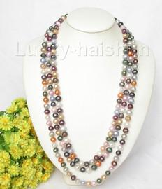 "Genuine 82"" 10mm Multicolor round pearls necklace j8033"