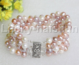 """natural 8"""" 4row 8mm round Multicolor pearls bracelet sterling silver clasp j12213"""