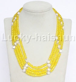 """Genuine 17"""" 4row white pearls yellow faceted crystal necklace magnet clasp j12215"""