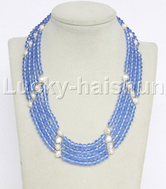 """Genuine 17"""" 4row white pearls blue faceted crystal necklace magnet clasp j12216"""