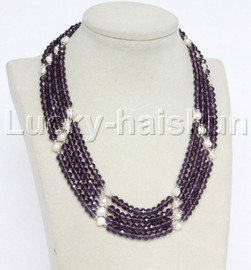 """Genuine 17"""" 4row white pearls purple faceted crystal necklace magnet clasp j12217"""
