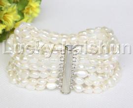 Genuine Baroque 6row white freshwater pearls bracelet magnet clasp j12222