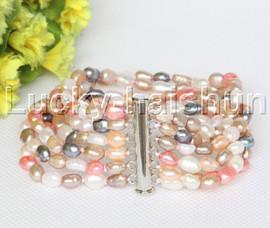Genuine Baroque 6row white pink black purple pearls bracelet magnet clasp j12223