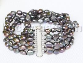 Genuine Baroque 6row black freshwater pearls bracelet magnet clasp j12225