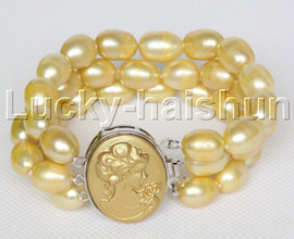 luster 14mm 3row baroque champagne oval pearls bracelet seashell clasp j12234