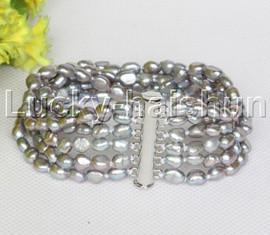 Genuine Baroque 6row gray freshwater pearls bracelet magnet clasp j12238