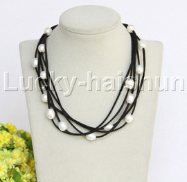 """5strands 16-18"""" 10X12mm white freshwater pearls black leather necklace j12256"""