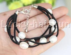 "7-9"" 5strands 10X12mm white freshwater pearls black leather bracelet j12257"