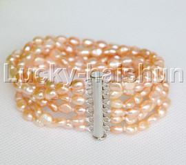 "j12260 6row 8"" natural Pink Baroque FW pearls bracelet magnet"