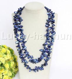 "48"" navy blue Reborn keshi Baroque pearls necklace magnet clasp j12261"