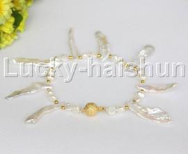 "WOW 8"" natural white Reborn keshi Baroque pearls bracelet j12262"