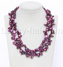 "Genuine 18"" 2row Baroque wine red Reborn keshi pearls necklace 18KGP clasp j12286"