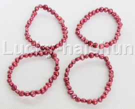 4piece stretchy 8mm Baroque wine red freshwater pearls bracelet j12293