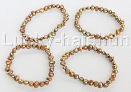 4piece stretchy 8mm Baroque coffee freshwater pearls bracelet j12294