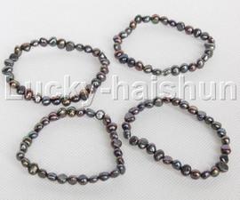 4piece stretchy 8mm Baroque black freshwater pearls bracelet j12296