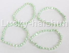 4piece stretchy 8mm Baroque light green freshwater pearls bracelet j12298