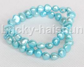 2piece stretchy 9mm Baroque sky-blue freshwater pearls bracelet j12303