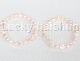 2piece stretchy 9mm Baroque light pink freshwater pearls bracelet j12309