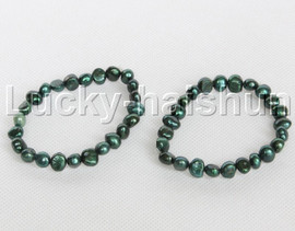 2piece stretchy 9mm Baroque dark green freshwater pearls bracelet j12315