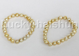 2piece stretchy 9mm Baroque champagne freshwater pearls bracelet j12316
