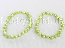 2piece stretchy 9mm Baroque light green freshwater pearls bracelet j12319