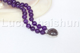 "Genuine 8"" 8mm 2row round amethyst beads bracelet amethyst clasp j12323"