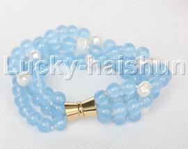"Genuine 8"" 8mm 4row round blue jade bracelet magnet clasp j12325"