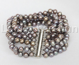 "Genuine 8"" 7mm 6row round gray pearls bracelet magnet clasp j12326"