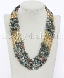 """baroque 18"""" 4row Multicolor jade yellow crystal necklace j12330"""