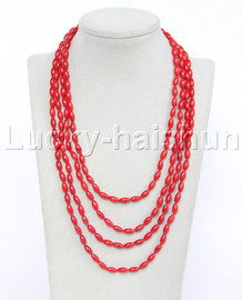 """length baroque 84"""" ovate rice red coral necklace 18KGP j12332"""