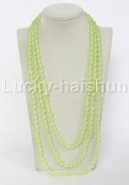 "length Genuine 82"" 8mm round light green jade necklace j12335"