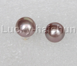 AAA natural 11mm round purple South Sea pearls Earrings 14K gold post j12364