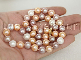 """AAA Luster natural 18"""" 11mm round Multicolor FW pearls necklace 14K j12368"""