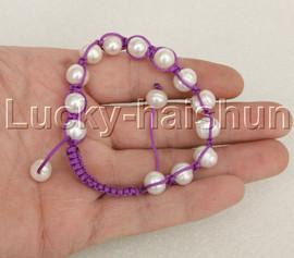 "adjustable Braided 7-10"" 11mm baroque white pearls Bracelet purple rope j12372"
