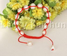 "adjustable Braided 7-10"" 11mm baroque white pearls Bracelet red rope j12373"