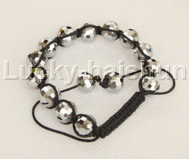 "adjustable Braided 7-10"" 10mm baroque white crystal Bracelet j12375"