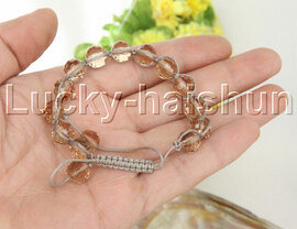 """adjustable Braided 7-10"""" 10mm baroque champagne crystal Bracelet j12378"""