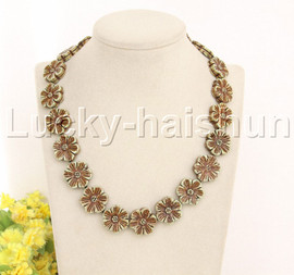 """natural blue 19"""" 21mm carved cinquefoil turquoise necklace gold plated  A100 j12379"""