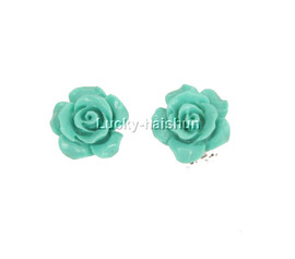 12mm carved rugosa rose flower simulated turquoise Earrings j12381