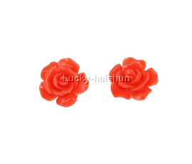 12mm carved rugosa rose flower simulated pink coral Earrings j12382
