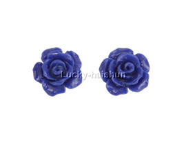 12mm carved rugosa rose flower simulated blue coral Earrings j12383